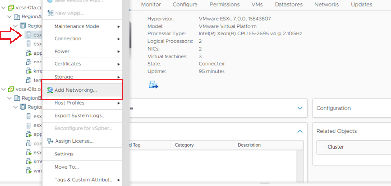 Right Click on ESXi and Click Add Networking
