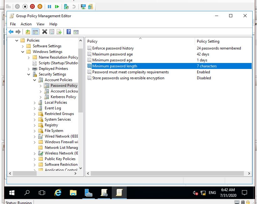 group policy management password policy