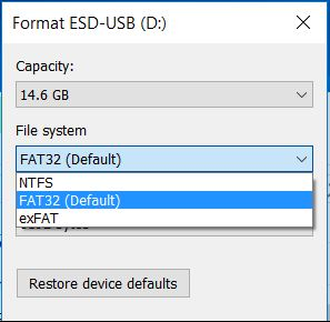 format in fat32 file system
