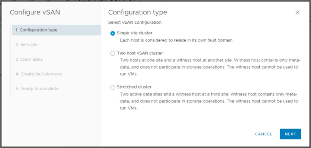 vSAN Configuration Type
