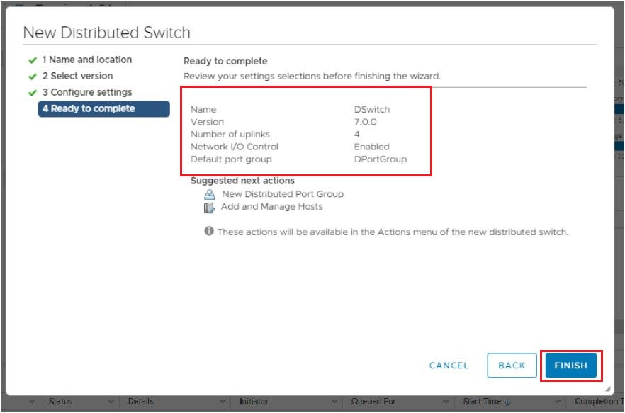 5. Review The Settings and Click Finish