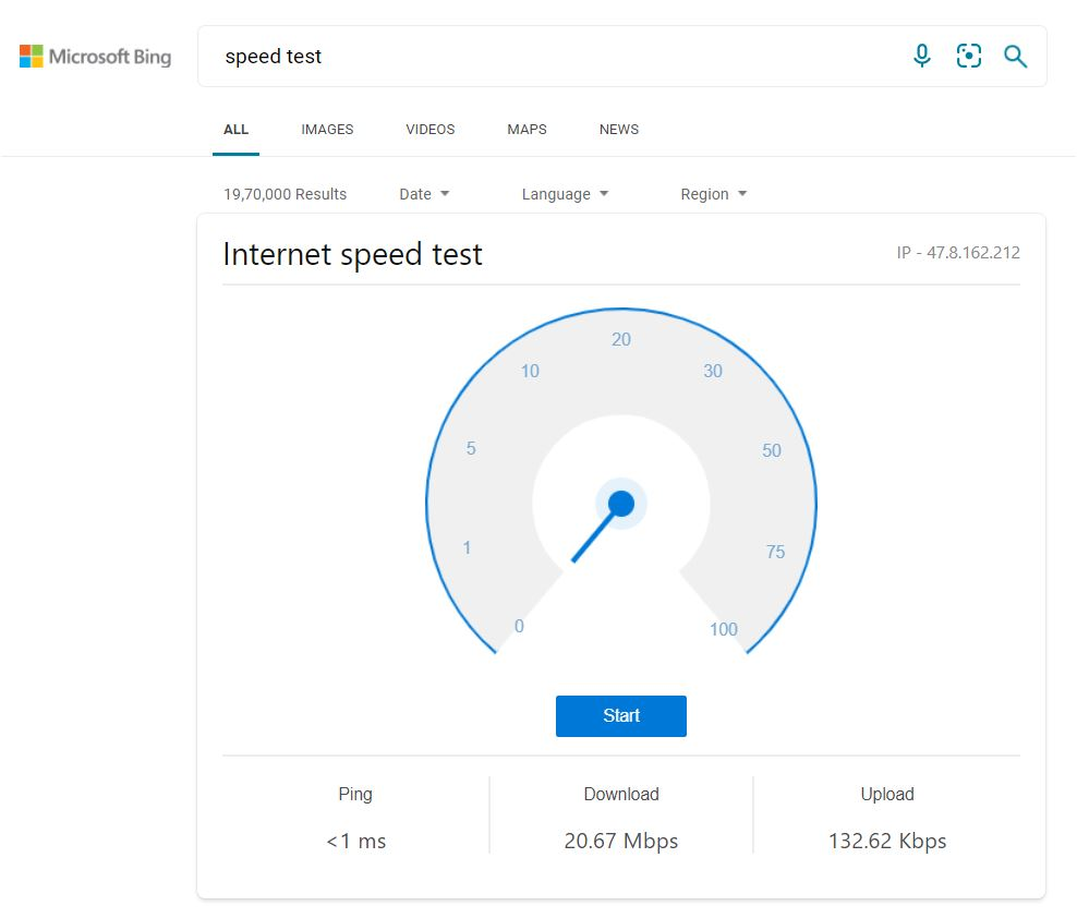 Speed Test By Bing Search