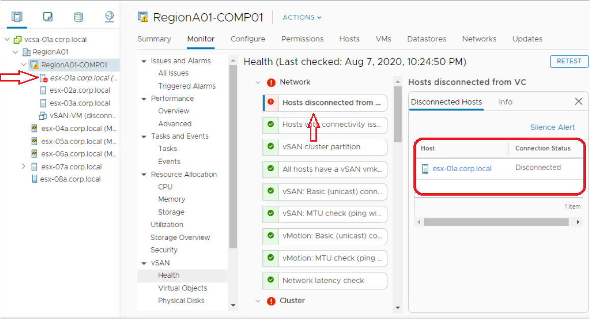 VSAN Health Alarm 'Hosts Disconnected From VC'