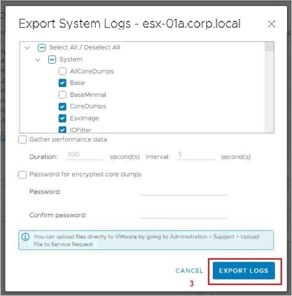 export system logs of an esxi
