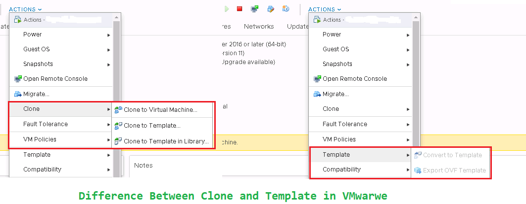 Difference Between Clone and Template In VMware