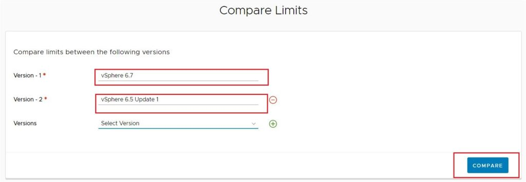 Compare Limits Between Versions