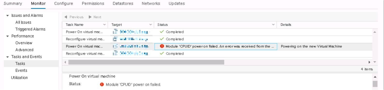 Module CPUID Power On Failed