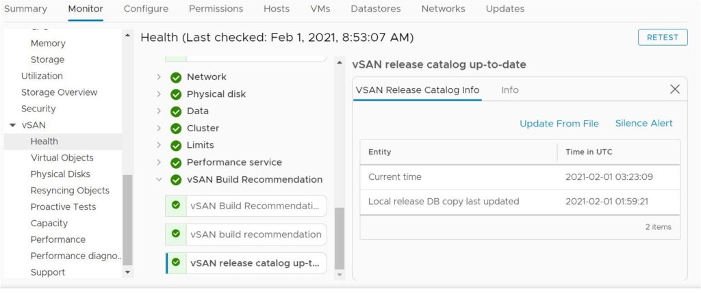 vSAN health alarm 'vSAN release catalog up-to-date' - Green